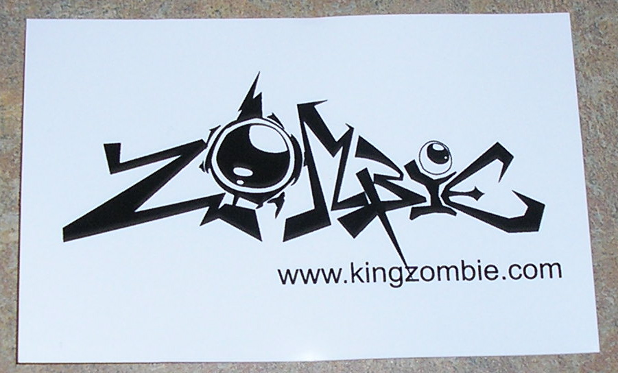 """Zombie"" Bumper Sticker w/white background 4.25"" x 2.75"" Sticker"