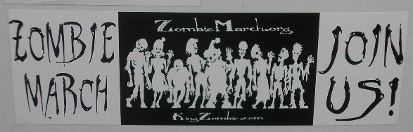 New ZombieMarch.org / King Zombie.com Bumper Sticker