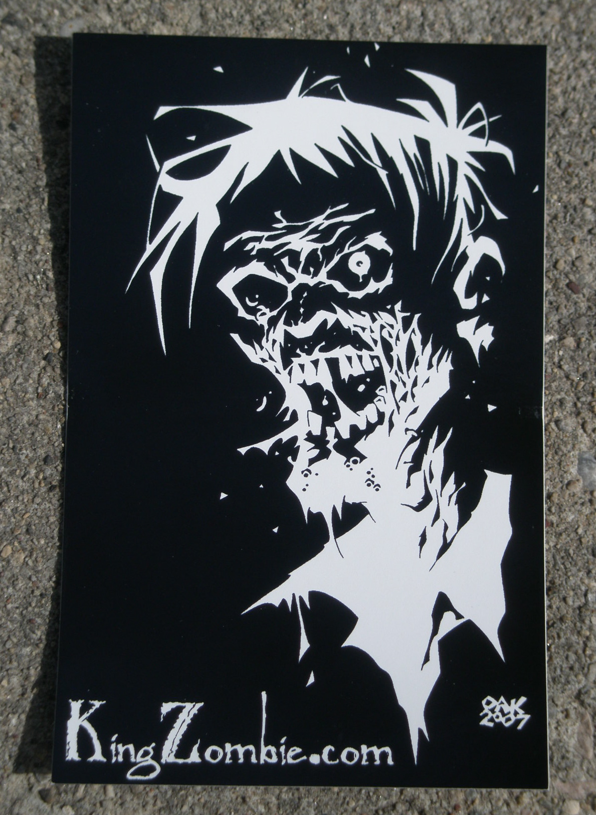 """Zombie"" Head Sticker by Shane Oakley 4.25"" x 2.75"" Sticker"
