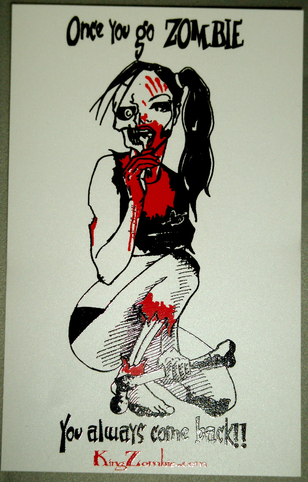"Zombie Hook-Up 4.25"" x 2.75"" Sticker"