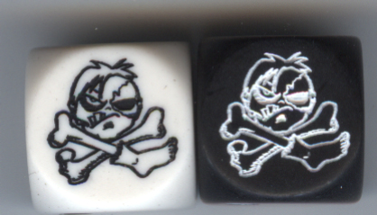 Pair of Zombie Pirate Jolly Roger Dice Z008 White & Black