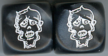 Pair of Lazy Eye Zombie Head Dice