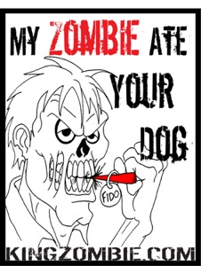 "5 x My Zombie Ate Your Dog Stickers 2.13"" x 2.75"""