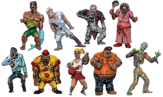 Set of 9 Plastic Zombie Figures