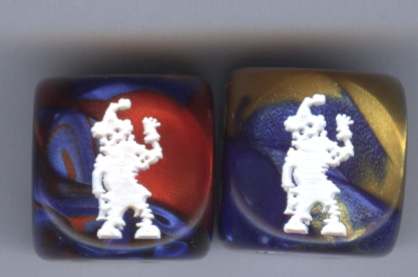 Pair of Zombie Clown Dice Gemini Blue-Red
