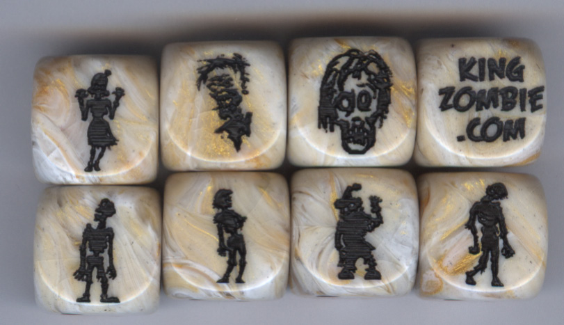 Set of 8 Zombie Dice zset8 Marble Ivory w/black