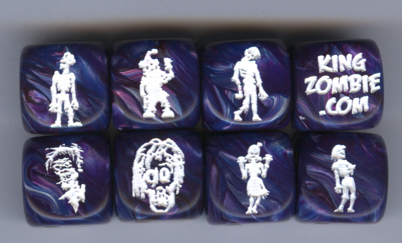 Set of 8 Zombie Dice Zset8 Lustrous Purple w/Gold